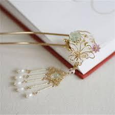 hair clasp handmade hairpin golden hair clasp bun topknot with tassel customs