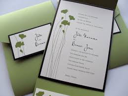 Pocket Invites Green Flower Stems Wedding Pocket Invitation Little Flamingo