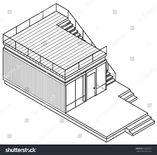 lineart drawing housebuilding made out shipping stock vector