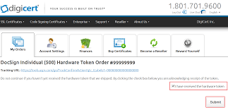 How To Sign A Business Email by Token Setup Document Signing Digicert Com