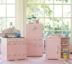 kids kitchen furniture a retro pink kitchen at pottery barn u2026 too bad it u0027s for kids