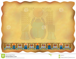 papyrus with ornaments and scarab royalty free stock