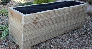 large wooden garden planter trough veg bed plant pot flower dma