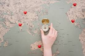 Decorative World Map World Map Background With Decorative Hearts And Compass In The