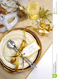Gold And Silver New Years Decorations by White And Gold Happy New Year Elegant Fine Dining Table Place