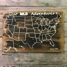 Mlb Map Baseball Travel Map Us Wood Map Usa Travel Map Mlb