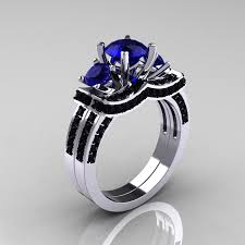 black and blue wedding rings 14k white gold three blue sapphire black diamond