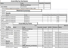 Bom Template Excel Specification Generator Bom Woodwork For Inventor Features