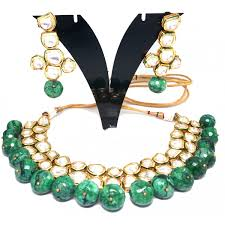 emerald stone necklace jewelry images Kundan and emerald stone reversible choker necklace and drop jpg
