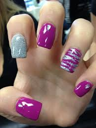 picture of purple and silver glitter nails and accent nails with