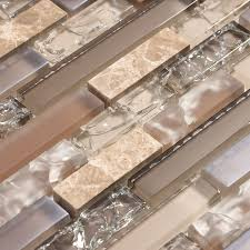 Glass Tile Kitchen Backsplash Pictures Beige And Tan Cracked Glass Tile With Stone And A Hint Of