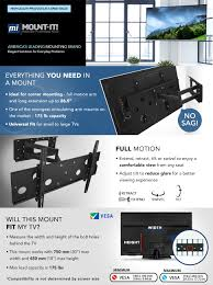 60 Inch Flat Screen Tv Wall Mount Amazon Com Mount It Full Motion Tv Mount Articulating For Lcd