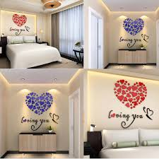 3d mirror acrylic wall stickers glitter love heart home removable