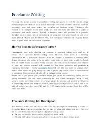 free lance writing job description
