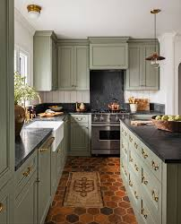 what color cabinets match black granite 15 best green kitchen cabinet ideas top green paint colors