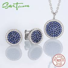 small stones necklace images Jewelry sets for women small round blue cz stones jewelry set stud jpg