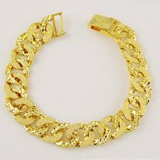 solid copper chain bracelet images Patterned wrist chain solid yellow gold filled womens mens jpg