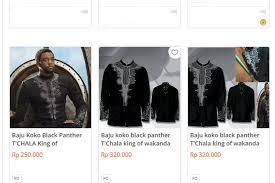 baju koko gara gara black panther banyak yang cari baju koko ke sini