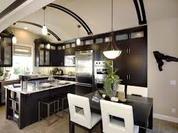kitchen white chairs black dining table white pendant light