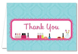 birthday party thank you cards glamour makeup party thank