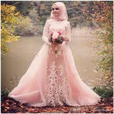 muslim wedding party discount new arrival 2017 blush pink muslim wedding dresses high