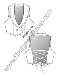 v20 back lacing vest flat fashion sketch template designers nexus