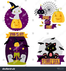 halloween cute clipart set white black stock vector 317678999
