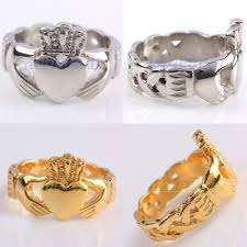 golden hand rings images 1pc unisex silver golden hand hold heart crown stainless steel jpg