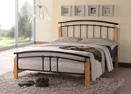 tetras contemporary wooden beech and black metal bed frame bedroom