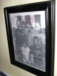 framed family proclamation la loma ward enrichment
