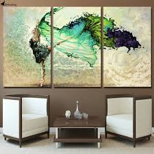 3 piece canvas art girl dancing canvas painting posters and prints paintings for living room wall