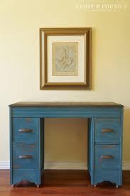 How To Refinish Desk Flow Blue Milk Paint Desk Furniture Makeover Lost U0026 Found
