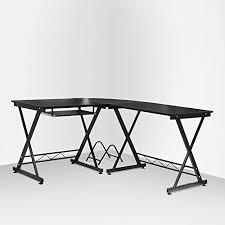 office table on wheels homfa computer desk with 4 movable wheels sliding keyboard shelf pc