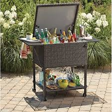 wicker cooler cart outdoor serving cart with wheels for patio