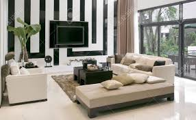 Modern House Living Room Modern House Living Room With The Modern Furniture Stock Photo
