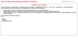 trip follower work experience certificate