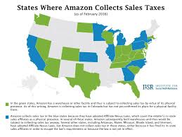 Local Presence States Where Amazon Collects Sales Tax Map Institute For Local