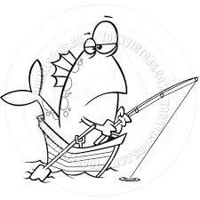 cartoon fish fishing black and white line art by ron leishman