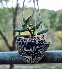 white hanging planter graphic black u0026 white ceramic hanging planter home decor