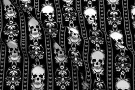 Black And Gold Damask Curtains by Skull Fabric Wallpaper U0026 Gift Wrap Spoonflower