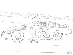 dale earnhardt jr with his car coloring page free printable