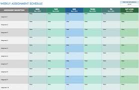 free weekly schedule templates for excel smartsheet time template
