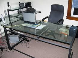 L Shaped Black Glass Desk by Monarch Black Metal L Shaped Computer Desk With Tempered Glass