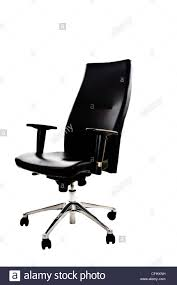 Leather Office Armchair Black Leather Office Armchair Isolated On White Background Stock