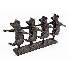 dancing pig chorus line cast iron statue qh10058 design toscano