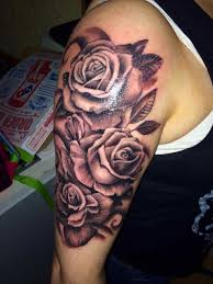 tattoos on forearm and grey shaded roses flower tattoo shoulder