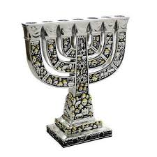 seven branched menorah silver and gold colored seven branch menorah israel cart