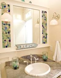 an table was made with a sea glass mosaic the table top - Sea Glass Bathroom Ideas