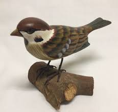 bird sculpture wooden carved painted sparrow vintage what s