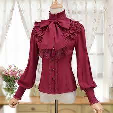vintage blouse lace chiffon ruffles stand collar lantern sleeve